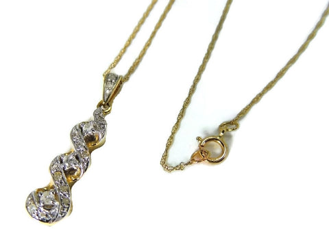 10k Gold Diamond Pendant and Chain Diamond Necklace - Premier Estate Gallery  - 1