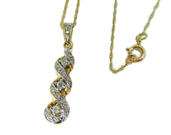 10k Gold Diamond Pendant and Chain Diamond Necklace - Premier Estate Gallery  - 2