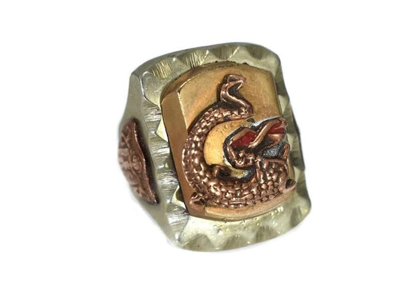 Vintage Steel Brass Dragon Biker's Ring c1950 1960 - Premier Estate Gallery