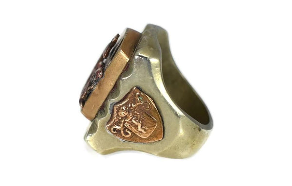 Vintage Steel Brass Dragon Biker's Ring c1950 1960