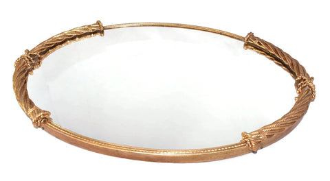 Vintage Hollywood Regency Vanity Tray Heavy Gold Rope Trim - Premier Estate Gallery