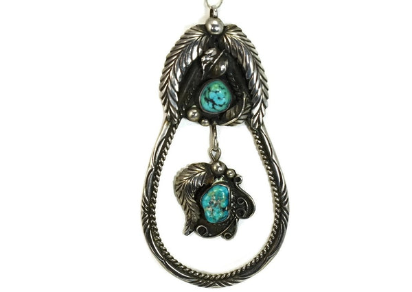 Navajo Turquoise Silver Pendant Large Vintage 4 Inch Sterling Signed DS