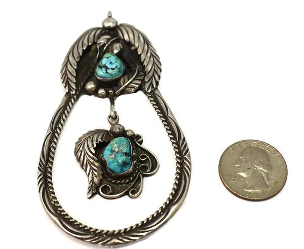 Navajo Turquoise Silver Pendant Large Vintage 4 Inch Sterling Signed DS - Premier Estate Gallery 2