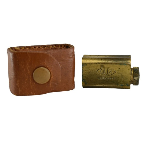 1950s Original Dux Brass Pencil Sharpener w Leather Case 3 Sharpening Styles - Premier Estate Gallery