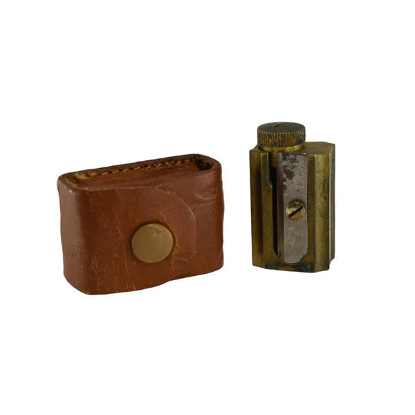 1950s Original Dux Brass Pencil Sharpener w Leather Case 3 Sharpening Styles - Premier Estate Gallery 1