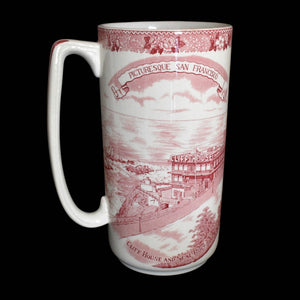 Rare Cliff House San Francisco Antique Old English Staffordshire Ale Mug Red Transferware - Premier Estate Gallery 3