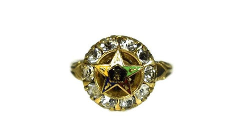 Order of Eastern Star Gold Filled Ring Enamel Rhinestones c1940 - Premier Estate Gallery 1
