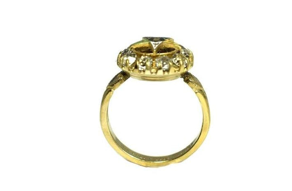 Order of Eastern Star Gold Filled Ring Enamel Rhinestones c1940