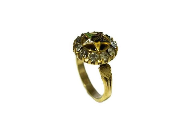 Order of Eastern Star Gold Filled Ring Enamel Rhinestones c1940 - Premier Estate Gallery 2
