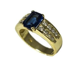 14k Gold Sapphire Crystal Ring with Natural Diamonds - Premier Estate Gallery