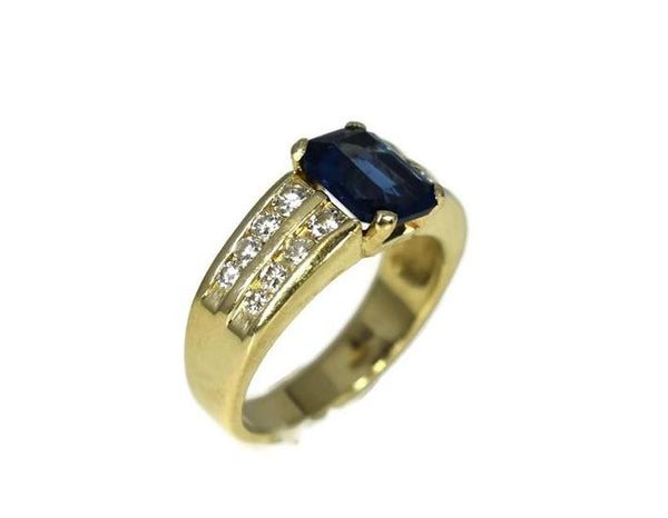 14k Gold Sapphire Crystal Ring with Natural Diamonds - Premier Estate Gallery 3