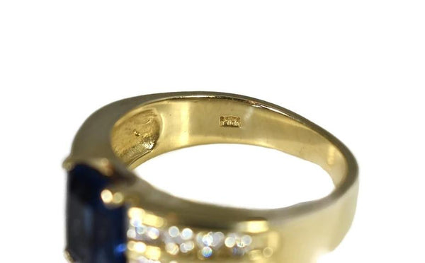 14k Gold Sapphire Crystal Ring with Natural Diamonds