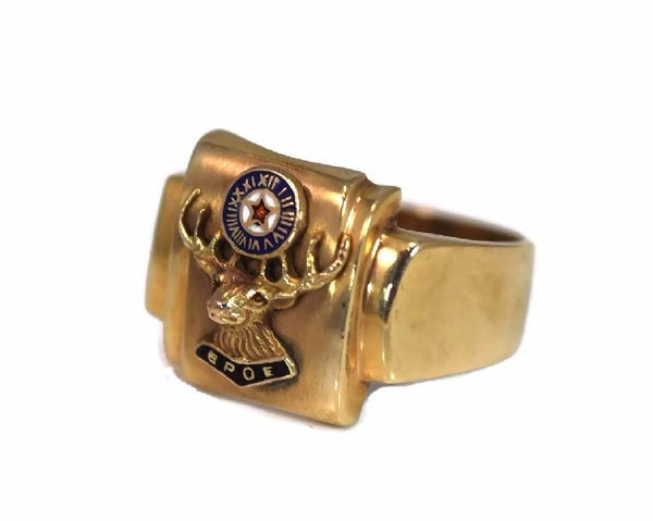 Order of Elks 10k Enamel Ring Vintage BPEO Gold Ring - Premier Estate Gallery