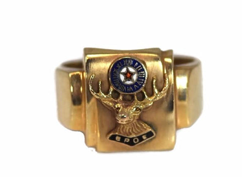 Order of Elks 10k Enamel Ring Vintage BPEO Gold Ring - Premier Estate Gallery 2