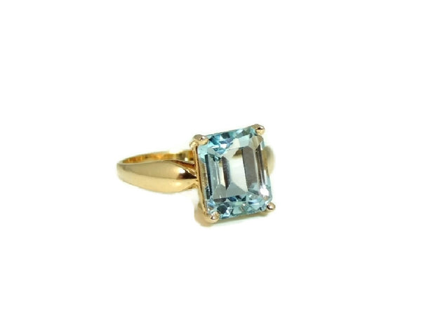 Blue Topaz 14k Gold Ring Vintage Gemstone Jewelry - Premier Estate Gallery  - 3