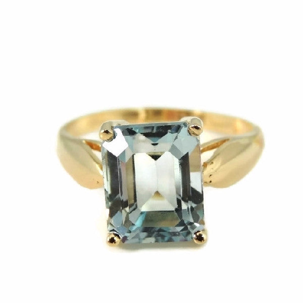 Blue Topaz 14k Gold Ring Vintage Gemstone Jewelry