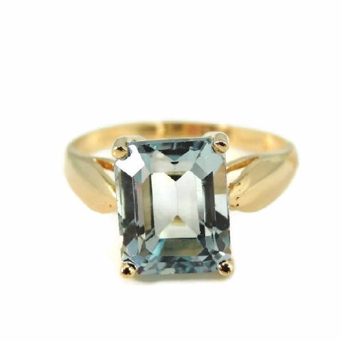 Blue Topaz 14k Gold Ring Vintage Gemstone Jewelry - Premier Estate Gallery  - 1