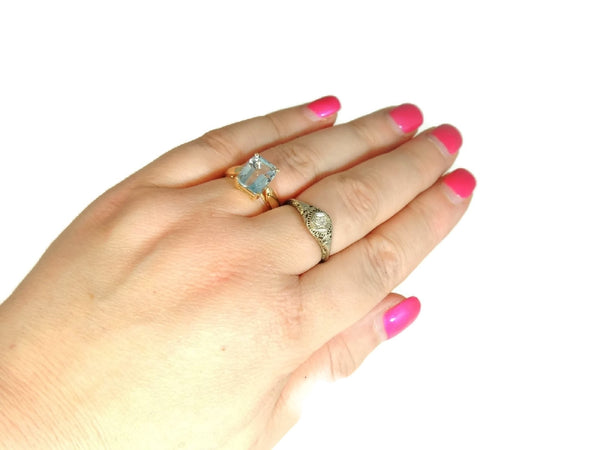 Blue Topaz 14k Gold Ring Vintage Gemstone Jewelry - Premier Estate Gallery  - 6