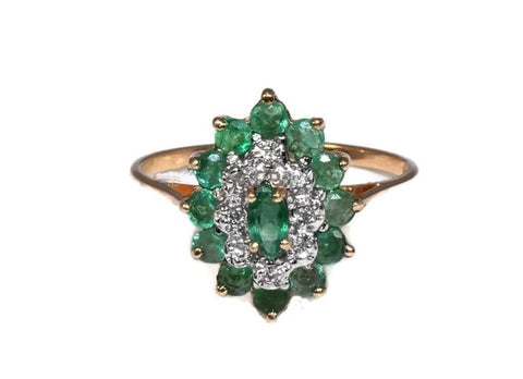 Vintage 10k Emerald Diamond Cocktail Ring .93 ctw - Premier Estate Gallery