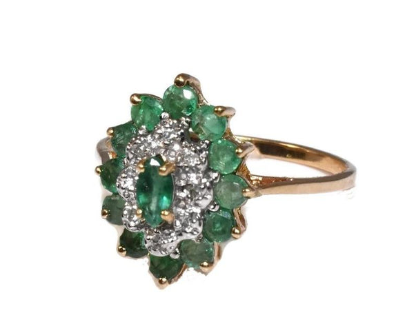 Vintage 10k Emerald Diamond Cocktail Ring .93 ctw - Premier Estate Gallery 2