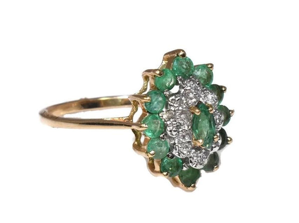 Vintage 10k Emerald Diamond Cocktail Ring .93 ctw - Premier Estate Gallery 3