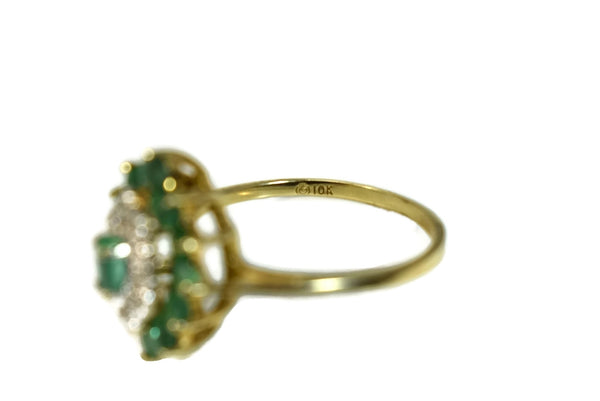 Vintage 10k Emerald Diamond Cocktail Ring .93 ctw
