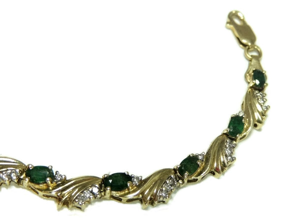 Estate Emerald Diamond 14k Tennis Bracelet 14.8g Gold