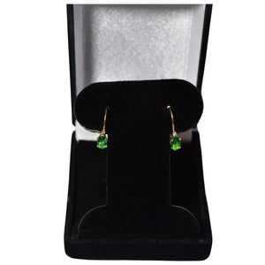 Dainty 14k Gold Emerald Green Quartz Lever Back Earrings Diamond Accents - Premier Estate Gallery 1
