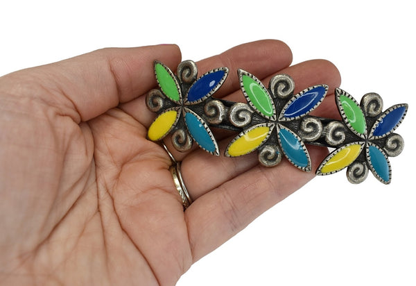 Big 1980s Colorful Enamel French Barrette for Thick Hair - Premier Estate Gallery 2