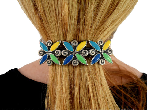Big 1980s Colorful Enamel French Barrette for Thick Hair - Premier Estate Gallery