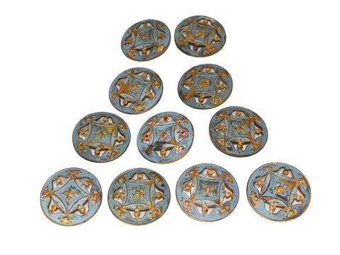 19th Century Enamel Gilt Buttons in 10k Gold Set of Eleven Roses - Premier Estate Gallery