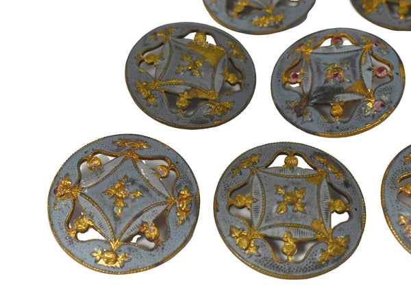 19th Century Enamel Gilt Buttons in 10k Gold Set of Eleven Roses - Premier Estate Gallery 1