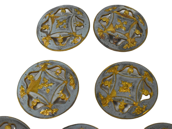 19th Century Enamel Gilt Buttons in 10k Gold Set of Eleven Roses - Premier Estate Gallery 3