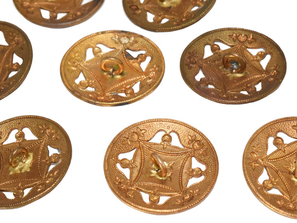 19th Century Enamel Gilt Buttons in 10k Gold Set of Eleven Roses