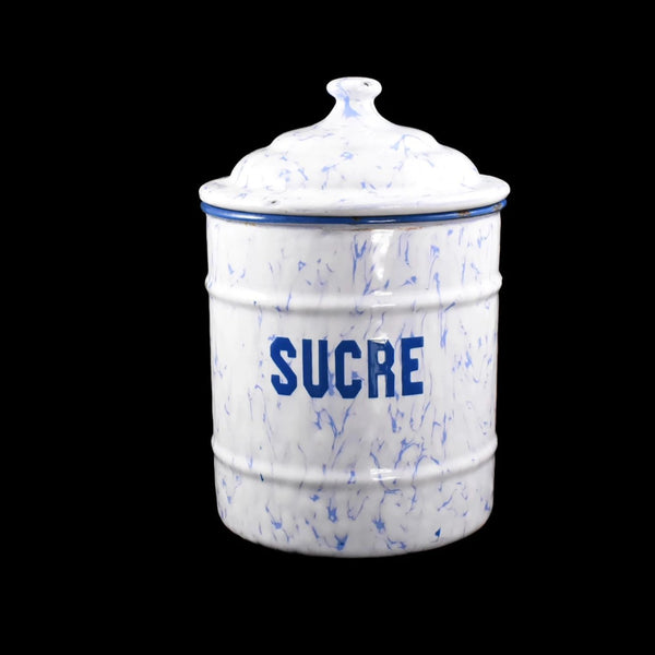Antique French Enamel Sugar Canister Periwinkle Blue and White - Premier Estate Gallery