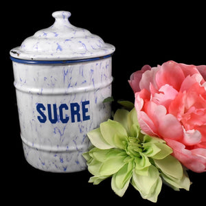 Antique French Enamel Sugar Canister Periwinkle Blue and White - Premier Estate Gallery 1