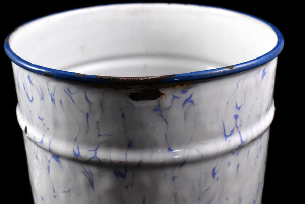Antique French Enamel Sugar Canister Periwinkle Blue and White