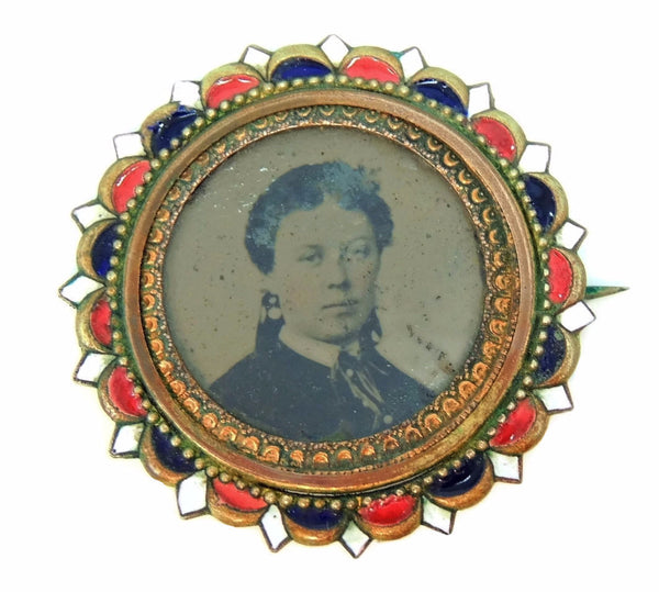 Antique Picture Brooch Brass and Enamel c1880s