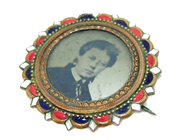 Antique Picture Brooch Brass and Enamel c1880s - Premier Estate Gallery  - 2