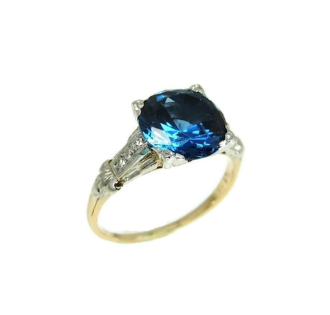 Art Deco Blue Spinel Ring Platinum 14k Gold with Diamonds - Premier Estate Gallery  - 1