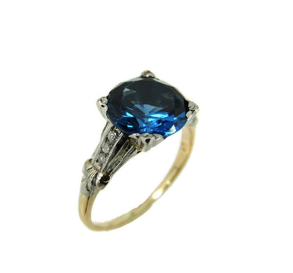 Art Deco Blue Spinel Ring Platinum 14k Gold with Diamonds - Premier Estate Gallery  - 2
