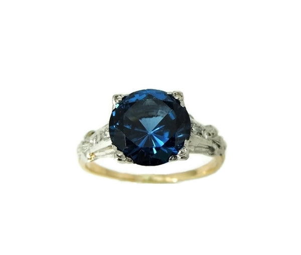 Art Deco Blue Spinel Ring Platinum 14k Gold with Diamonds - Premier Estate Gallery  - 3