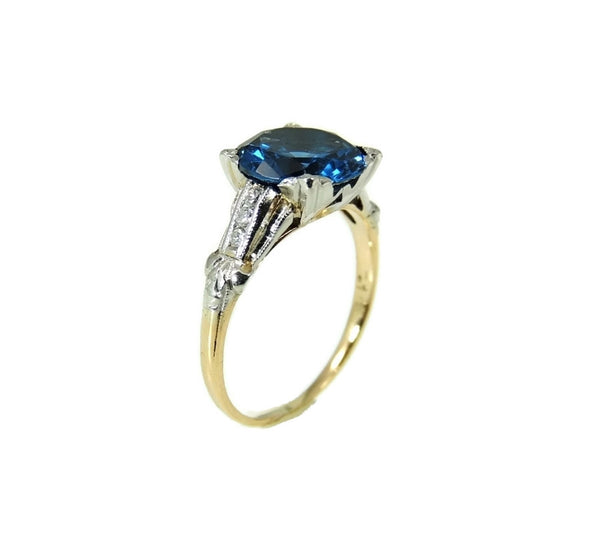 Art Deco Blue Spinel Ring Platinum 14k Gold with Diamonds - Premier Estate Gallery  - 4