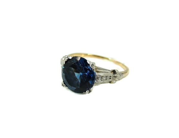 Art Deco Blue Spinel Ring Platinum 14k Gold with Diamonds - Premier Estate Gallery  - 5