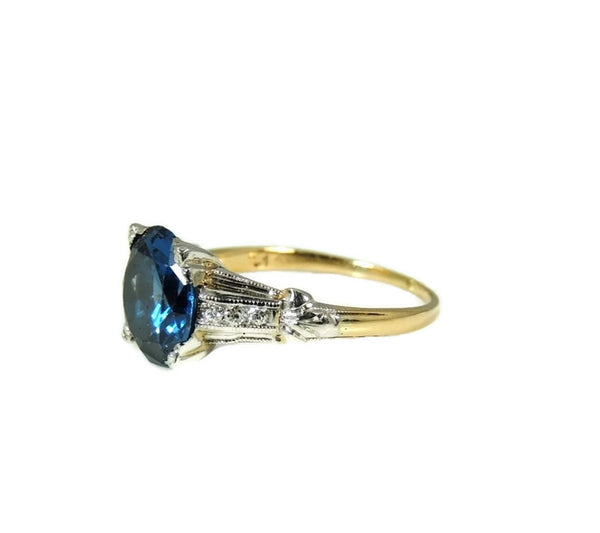 Art Deco Blue Spinel Ring Platinum 14k Gold with Diamonds - Premier Estate Gallery  - 6