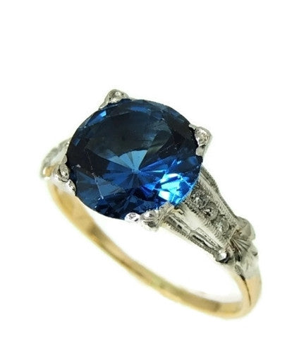 Art Deco Blue Spinel Ring Platinum 14k Gold with Diamonds - Premier Estate Gallery  - 8
