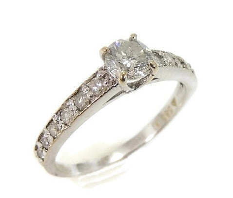 Vintage 14k Diamond Engagement Ring .51 ctw White Gold