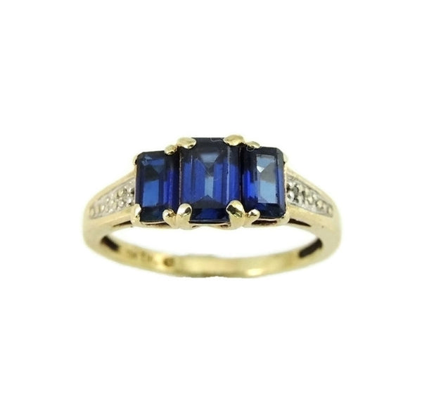 Gold Sapphire Ring 3 Stone Emerald Cut Estate Vintage 10k - Premier Estate Gallery  - 2