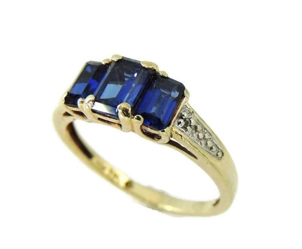 Gold Sapphire Ring 3 Stone Emerald Cut Estate Vintage 10k