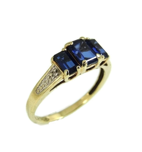 Gold Sapphire Ring 3 Stone Emerald Cut Estate Vintage 10k - Premier Estate Gallery  - 3